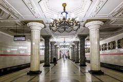 Inre av den St Petersburg tunnelbanastationen Avtovo Royaltyfri Fotografi