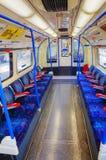 Inre av den underjordiska drevbilen i London Royaltyfria Foton