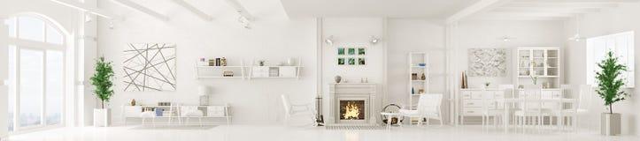 Inre av den vita tolkningen för vardagsrumpanorama 3d Royaltyfria Bilder