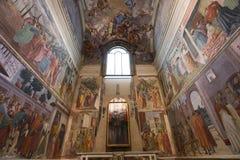 Inre av det Brancacci kapellet, Florence, Italien royaltyfria foton