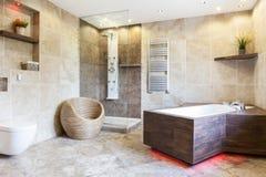 Inre av det dyra och bruna badrummet Fotografering för Bildbyråer