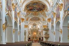 Inre av det gamla kapellet i Regensburg, Tyskland Arkivfoton