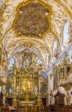 Inre av det gamla kapellet, Regensburg, Tyskland Arkivbild