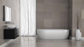 Inre av det moderna badrummet med grå färger belägger med tegel väggen