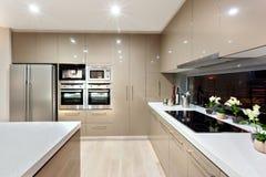 Inre av det moderna köket i ett lyxigt hus royaltyfria bilder