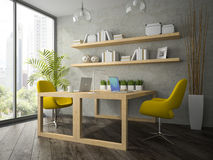 Inre av det moderna kontoret med två den gula tolkningen för fåtölj 3D Fotografering för Bildbyråer
