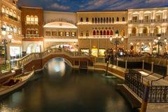 Inre av det Venetian hotellet på natten fotografering för bildbyråer