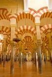 Inre av domkyrka-moskén av Cordoba, Andalusia, Spanien Fotografering för Bildbyråer