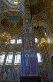 Inre av domkyrkan av uppståndelsen av Kristus i St Petersburg, Ryssland kyrklig frälsare för blod Arkivbild