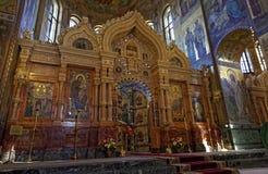 Inre av domkyrkan av uppståndelsen av Kristus i St Petersburg, Ryssland kyrklig frälsare för blod Royaltyfri Bild
