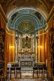 Inre av domkyrkan för St Paul ` s - Mdina, Malta royaltyfria foton