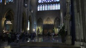 inre av domkyrkan av Notre Dame de Paris steg f?nsterfolkturister arkivfilmer
