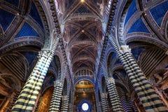 Inre av Duomodi Siena är en medeltida kyrka i Siena, Italien Fotografering för Bildbyråer