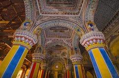 Inre av Durbar Hall, Thanjavur Maratha slott, Thanjavur, Tamil Nadu, Indien Arkivfoton