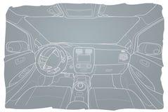 Inre av electromobile med automatlådan Arkivfoto