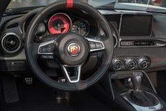 Inre av en Fiat Abarth Arkivbild
