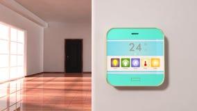 Inre av en lägenhet med den smarta hem- kontrollapparaten Fotografering för Bildbyråer