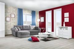 Inre av en modern vardagsrum i färg Fotografering för Bildbyråer