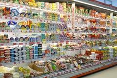 Inre av en supermarket Arkivbild