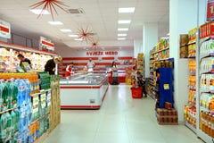 Inre av en supermarket Franca Arkivfoton