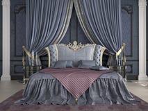Inre av ett klassiskt stilsovrum i lyx Royaltyfri Fotografi