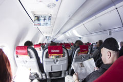 Inre av flygplanet Boeing 737 Arkivfoto