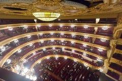 Inre av Granen Teatre del Liceu Royaltyfri Fotografi