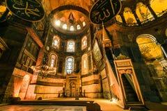 Inre av Hagia Sophia (Ayasofya), Istanbul, Turkiet Fotografering för Bildbyråer