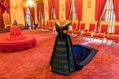 Inre av Iolanien Royal Palace i Honolulu, Oahu, Hawaii, biskopsstolrum arkivfoton