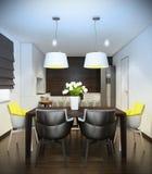 Inre av kök med modernt möblemang Royaltyfria Foton