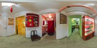 Inre av kafét i eco-stil sfärisk panorama 3D med 360 grad visningvinkel Ordna till för virtuell verklighet i vr Full equirect arkivfoto