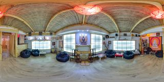 Inre av kafét i eco-stil sfärisk panorama 3D med 360 grad visningvinkel Ordna till för virtuell verklighet i vr Full equirect Royaltyfria Bilder