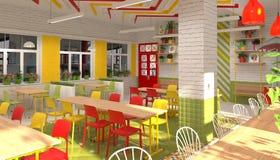 Inre av kantin för skolbarn` s visualization 3D av matsal för skolbarn Royaltyfria Foton