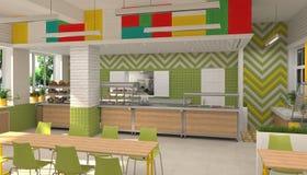 Inre av kantin för skolbarn` s visualization 3D av matsal för skolbarn Arkivfoto