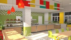 Inre av kantin för skolbarn` s visualization 3D av matsal för skolbarn Fotografering för Bildbyråer