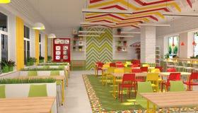 Inre av kantin för skolbarn` s visualization 3D av matsal för skolbarn Royaltyfri Foto