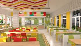 Inre av kantin för skolbarn` s visualization 3D av matsal för skolbarn Arkivbild
