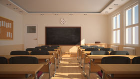 Inre av klassrumet med solljus (tolkningen 3D) Arkivfoto