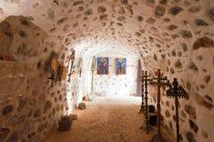 Inre av kloster av Kera Kardiotissa på ön av Kreta i Grekland Arkivfoton