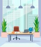 Inre av kontorsrummet, med en arbetsplats, ett stort panorama- fönster och sikter av stadshorisonten vektor illustrationer