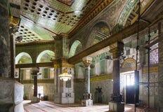 Inre av kupolen på vagga israel jerusalem Arkivbild