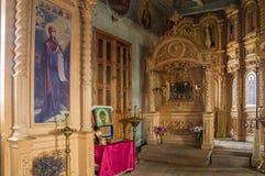 Inre av kyrkan av ärkeängeln Michael Byn av stora Ignatovo, republik av Mordovia Arkivbilder