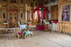 Inre av kyrkan av ärkeängeln Michael Byn av stora Ignatovo, republik av Mordovia Arkivfoton