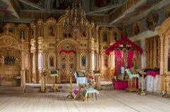 Inre av kyrkan av ärkeängeln Michael Byn av stora Ignatovo, republik av Mordovia Royaltyfri Bild