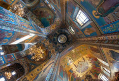 Inre av kyrkan av frälsaren på spillt blod Arkivfoto