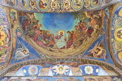 Inre av kyrkan av frälsaren på spillt blod Arkivfoton