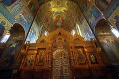 Inre av kyrkan av frälsaren på spillt blod, helgonhusdjur Arkivfoto