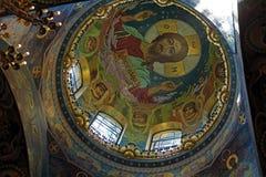 Inre av kyrkan av frälsaren på spillt blod, helgonhusdjur Arkivfoton