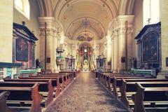 Inre av kyrkan Maria Radna som invigas i heder av den välsignade jungfruliga Maryen Arkivfoto