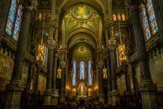 Inre av kyrkan Notre-Dame-de-Fourvières Fotografering för Bildbyråer